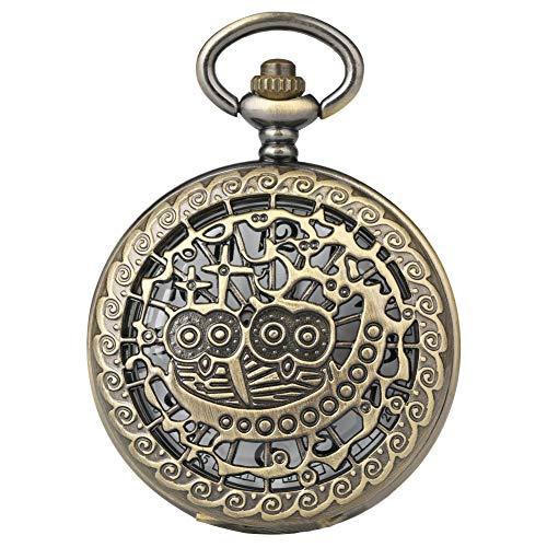 Aruie - Orologio da taschino a mezzo sapere, con gufo e gufo, con incisione traforata, numeri arabo, al quarzo, vintage, bronzo, collana a tasca, unisex, da donna