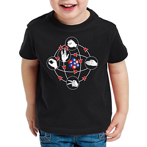 CottonCloud Piedra Papel Tijera Lagarto Spock Camiseta para Niños T-Shirt Sheldon, Color:Negro, Talla:152