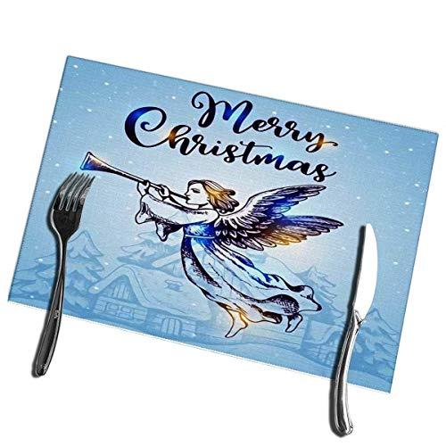 Winter-South placemats kerstengel vliegen over huizen en blaast in de trompet wasbaar, gemakkelijk te reinigen placemat