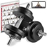 POWRX Manubri Pesi 20 kg Set (2 x 10 kg) + PDF Workout (Nero)