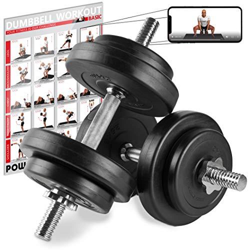 manubri palestra dischi POWRX Manubri Pesi 20 kg Set (2 x 10 kg) + PDF Workout (Nero)
