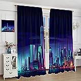 DRAGON VINES Cool Modern - Cortina de noche con rascacielos de Nueva York para habitación universitaria (140 x 160 cm)