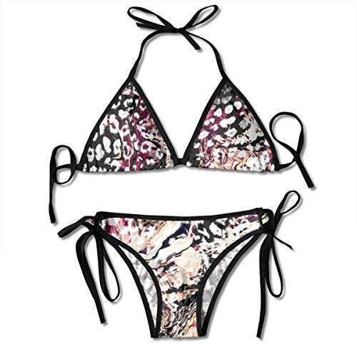 Bikini Mix Animal Skin Print Repeat Pattern Design Leopard Snake Zebra Tiger Bikini Set Two Piece,Triangle...