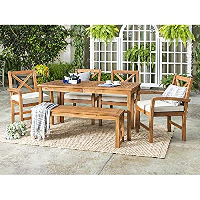 Walker Edison Delray Classic 6 Piece Acacia Wood Outdoor Dining Set with X Back Chairs, Set of 6, Brown
