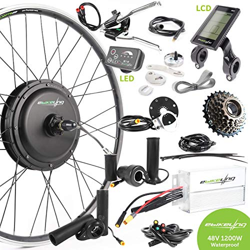 EBIKELING 48V 1200W 700C Direct Drive Front Waterproof Electric Bicycle Conversion Kit (Front/LCD/Thumb)