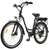 ANCHEER 26' Aluminum Electric Bike, Adults Electric Commuting Bicycle with Removable 12.5Ah Battery, Professional Derailleur with 6 Speed City Ebike (Black)