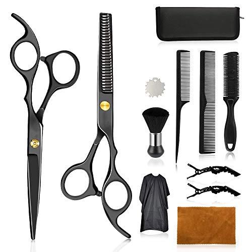 Wrei tijeras de peluquería, Conjunto Tijeras Peluquelo Profesional para el cabello, tijeras de peluquería con capa de barbero y peine de maquinilla de afeitar, set corte de pelo profesional (Negra)