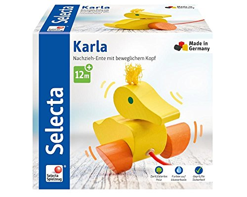 Selecta 62001 Karla, Nachzieh Ente, Schiebe-und Nachziehspielzeug aus Holz, 10 cm