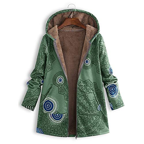 PYUIYY Damen Jacke Warme Mantel Herbst Winter Sweatshirt Blumendruck Mit Kapuze Kapuzenjacke Hoodie Taschen Pullover ÜBergroßE Outwear Coats Tops