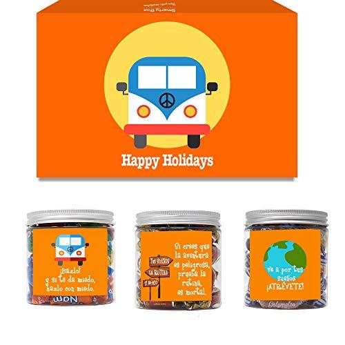SMARTY BOX Caja Regalo Chuches Amigo, Pareja, Novio Original Caramelos y Gominolas Cesta Golosinas Regalo Chucherías con Mensajes Dulces sin Gluten, Fabricado en España