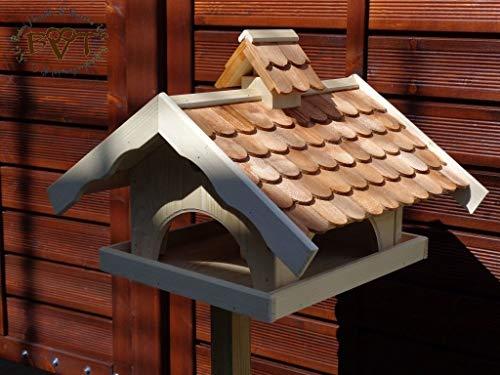 Vogelhaus,groß,mit Nistkasten,BTV-X-VONI5-dbraun001 NEU MASSIVES GANZJAHRES PREMIUM Vogelhaus + NISTKASTEN IN EINEM (VOLL FUNKTIONSFÄHIG mit Reinigungsvorrichtung), Qualität Schreinerware 100% Massivholz - VOGELFUTTERHAUS MIT FUTTERSCHACHT-Futtersilo Futterstation Farbe braun dunkelbraun behandelt / lasiert schokobraun rustikal klassisch, MIT TIEFEM WETTERSCHUTZ-DACH für trockenes Futter