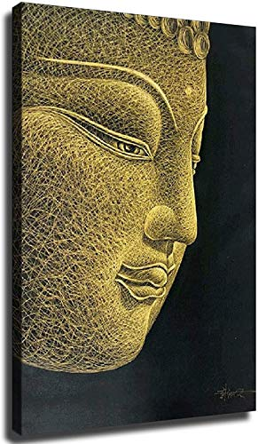 Home Decor Print Oil Painting on Canvas Wall Art, Hand Carved Golden Buddha Head Print Oil Painting D (16x24inch,Unframed)