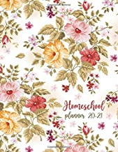 Homeschool Lesson Planner 2020-2021 Multiple Kids: floral Weekly and Monthly Record Book for Teaching Multiple students | ...