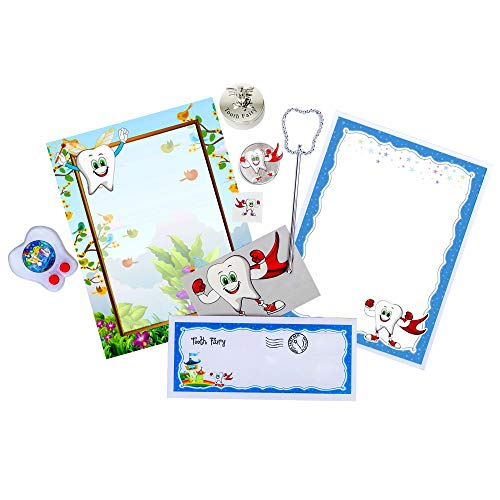 Tooth Fairy Kit | 9 Piece Gift Set for Lost Tooth Experience | Novelty Baby Keepsake Memory Package | Box, Silver Coin, Wand, Toy, Card, Tattoo, 2 Blank Letters, Envelope for Kids