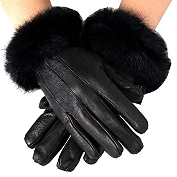 Alpine Swiss Womens Leather Dressy Gloves Rabbit Fur Trim Thermal Lined BLK M