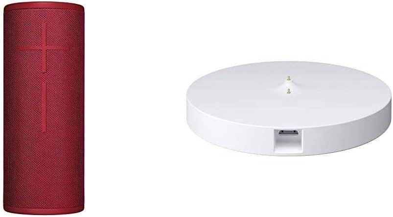 Ultimate Ears Boom 3 Altavoz Portátil Inalámbrico Bluetooth + Base de Carga Power Up, Graves Profundos, Impermeable, Flotante, Conexión Múltiple, Batería de 15 h, color Rojo