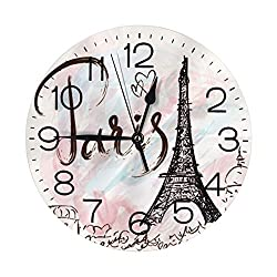 N/W Romantic Paris Eiffel Tower Wall Clock 10 Round,- Battery Operated Wall Clock Clocks for Home Decor Living Room Kitchen Bedroom Office