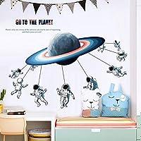 ウォールステッカー壁画、子供部屋の寮のリビングルームの壁の装飾の自己粘着性の子供の壁紙、子供の赤ちゃんの壁のステッカー、保育園の壁の装飾のための漫画宇宙宇宙飛行士の壁のステッカー