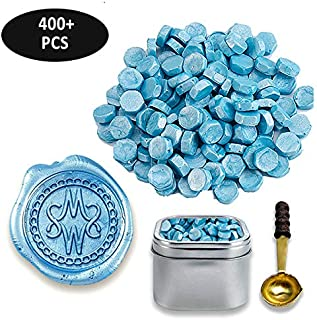 Premium Sealing Wax Beads 400-count in Tin with Melting Spoon-Light Blue