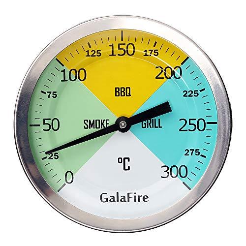 GALAFIRE 3 3/16 Pulgadas Cara Grande 300 ℃ Termómetros para Barbacoas, Medidor de Temperatura para Ahumadores Barbacoa Asador Horno Ahumar con Vástago Alargado de 2 7/8 Pulgadas