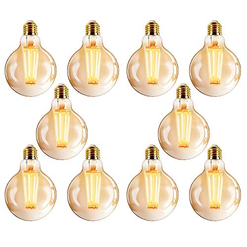 YDHNB Edison E27 Vintage Glühbirne LED Warmweiß (2700K) Dimmbar 400 Lumen 4W (Ersetzt 40W) Ideal für Nostalgie und Retro Beleuchtung im Haus Café Bar- 10 Stück,10 pcs 110v,G80