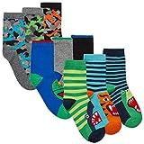 Calcetines de algodón para niños (paquete de 9 y 18 pares) con motivos de dinosaurios, espacio, monstruos, calaveras, fútbol 9 pares Multipack R 23-26