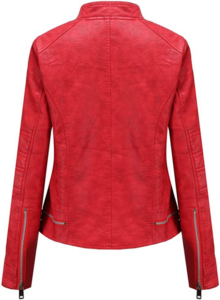 Arlita Women's Stand Collar Pu Leather Fleece Lined Warm Quilted Moto Jacket