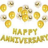 記念日 飾り付け ゴールド 結婚記念日デコレーション パーティー 周年イベント アルミバルーン 紙吹雪 風船 新年会 お祝い 誕生日