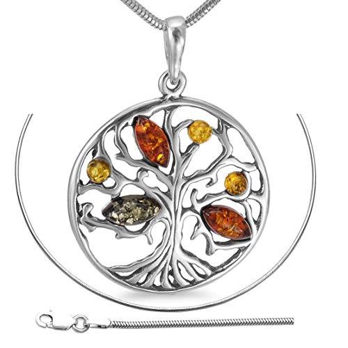 Bernsteinschmuck Lebensbaum 45cm Kette Weltenbaum Anhänger 925er Silber Halskette inkl. Geschenkbox Bernstein Schmuck Amulett Medaillon Spruch #b1347