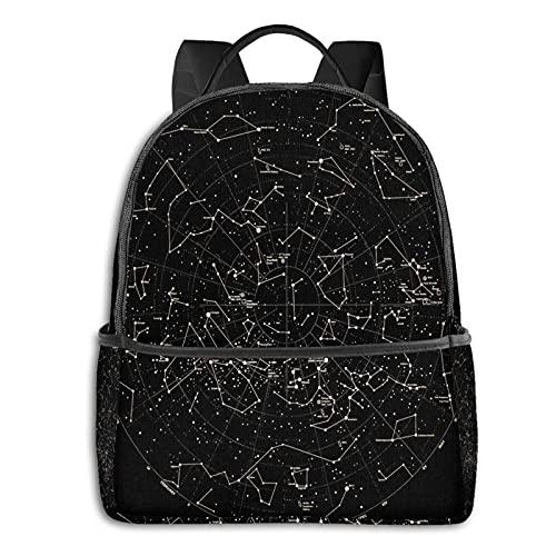 QQIAEJIA Mochila de poliéster de moda Constelaciones de astronomía Estrellas Universo Todas las estaciones Unisex Gran capacidad Durable Escuela Mochilas diarias al aire libre