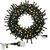 Twinkle Star 66ft 200 LED Christmas String Lights, UL Safe Certified Outdoor Fairy Lights Plug in, Expandable Green Wire Clear Bulbs Mini Lights 8 Modes, Xmas Tree Wedding Party Decoration, Warm White