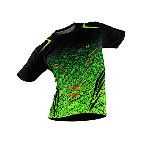 JJ TEES Polyester Half Sleeve Jersey with Round Collar and Digital Print All Over for Men (Size:L) (Color: Black and Light Green)