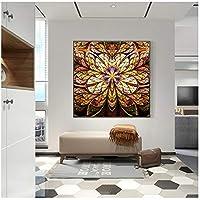DLFALG 抽象的な茶色のクリスタルミニマリストの花のポスターとプリントウォールアートキャンバス絵画北欧スタイルの壁の写真寝室の装飾-60x60cmフレームなし