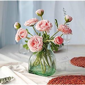 Silk Flower Arrangements DuoLi Artificial Flowers Camellia Silk Flowers 5pcs Bouquet for Home Decor Wedding Party Decoration Fake Flower