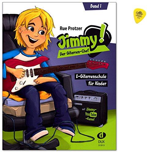 Jimmy! Der Gitarren-Chef ist eine E-Gitarrenschule von Rue Protzer für Kinder im Alter von 6 bis 12 Jahren - mit Play-alongs auf der Jimmy-Website und Original Dunlop Plek - DUX3513-9783868493085