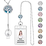 USANGERS Retractable Badge Reel Lanyard Necklace with ID Holder Strong Essential Oils Diffuser Lanyard Pendant for Her Women