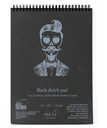 SMLT EB-30TS/BLACK Authentic Line A4 Skizzenblock, Leicht Strukturiert Schwarz Papier, 165gsm, 30 Blatt, mit Perforation, recycelter Deckel und Doppelspirale
