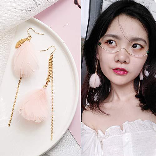 Chwewxi Asymmetrische Ohrringe für rundes Gesicht, schlankes Temperament, koreanische Ohrringe, Cooles Mädchen, Ohrringe, Ohrringe, 7 rosa asymmetrische Federn