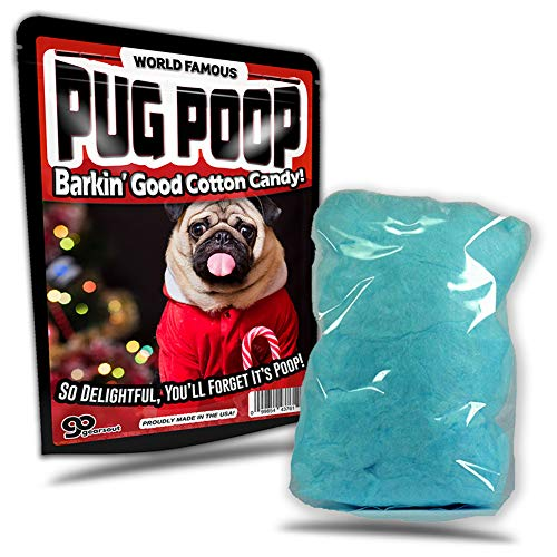 Pug Poop Cotton Candy Silly Stocking Stuffers for Adults Funny Holiday Candy Gags Poop Pranks Novelty Christmas Gags Blue Cotton Candy Gluten-Free Sweets Cute Christmas for Kids Pug Puppy Gags