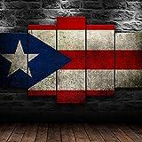 Imprimir Sobre Lienzo 5 Piezas Pintura Cinco Dibujo Consecutivas Impresión Moderna Decoración Casera Modular Abstracta Póster Con Marco XL/200cm×100cm Bandera De Puerto Rico República Dominicana