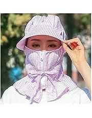 Sombra Las Nuevas Mujeres del Sombrero de Sun Multi Función Anti-UV Verano señora Sombrero de ala Ancha de Rayas Gorra con Visera Mujer Cuello Proteger a Caballo Sombrero de la Caza niña