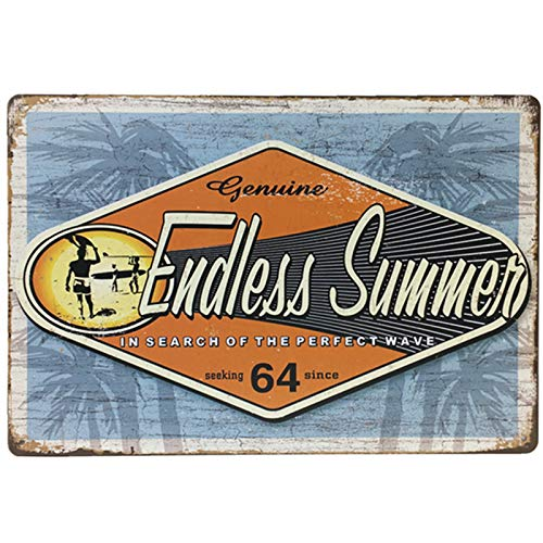 Flytime Genuine Endless Summer Seaside Beach Vintage Metal Tin Sign Wall Art Decor Coffee Retro Decoration for Home Bar 8X12Inch