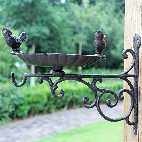 Belleashy Hanging Brackets Heavy Duty Gusseisen-Dekor-Betriebsaufhänger Metall Outdoor Garten Wandhaken for Planter Blume Aufhänger Vogelfutterzaun (Color : As Shown, Size : 27x21cm)