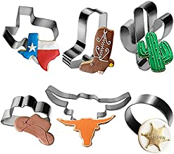 Aoerfes Western Cookie Cutters 6 Piece Texas Cutter Set, Cowboy Hat,Longhorn, Cowboy Boot ,Cactus, Round Shaped Stainless Steel Molds for Party Making Muffins, Cake Fondant Biscuits,Sandwiches