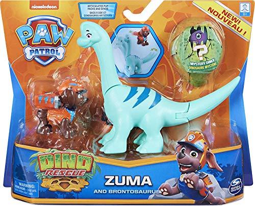 PAW Patrol Dino Rescue Ensemble de Figurines Zuma et d'Un Dinosaure, pour Enfants à partir de 3 Ans