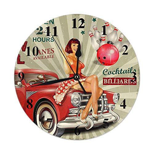GOSMAO 25cm (9.8') Redondo Reloj de Pared Silencioso No Tick Tack Ruido Reloj de Pared Sexy, niña, Mujer, en, Retro, Coche, Bolas, Estrellas