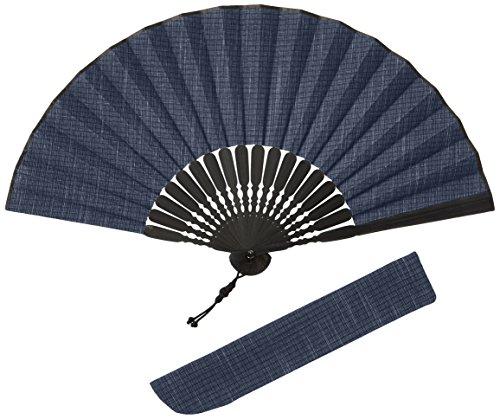 (ハクチクドウ)Hakuchikudo(ハクチクドウ) つむぎかすり扇子セット (全3種類) 11-jpn-tsumugikasuri nv ネイビー -