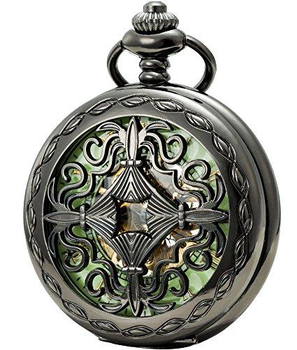 SEWOR Vintage mecánica Mano Viento Reloj de Bolsillo Luminosa Esfera Lupa de Cristal (Negro)
