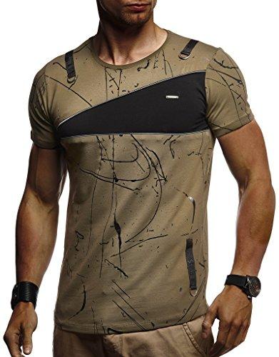 Leif Nelson Herren Sommer T-Shirt Rundhals-Ausschnitt Slim Fit Baumwolle-Anteil Moderner Männer T-Shirt Crew Neck Hoodie-Sweatshirt Kurzarm lang LN920 Khaki XX-Large