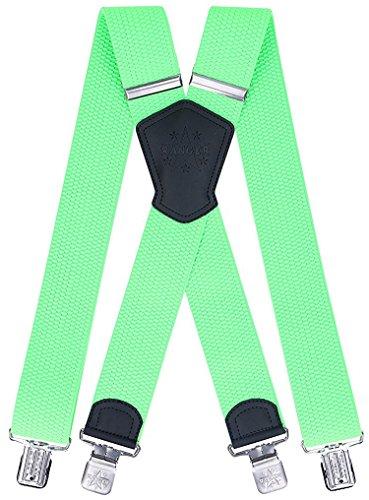 Ranger Hosenträger für Männer X Form, 5 cm breit, 130 lang, regulierbare und elastische Hosenträger mit sehr starken Klipps - robust Dx50 (grelles Grün)